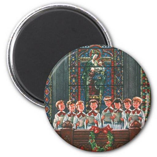 Niños del navidad del vintage que cantan al coro imán redondo 5 cm
