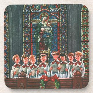 Niños del navidad del vintage que cantan al coro posavasos de bebidas