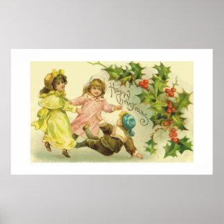 Niños del navidad del vintage y poster del acebo