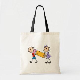 Niños del palillo con el lápiz bolsa tela barata
