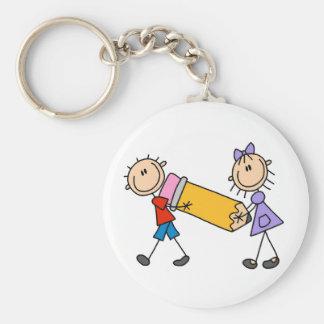 Niños del palillo con el lápiz llaveros