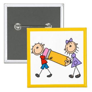Niños del palillo con el lápiz pins