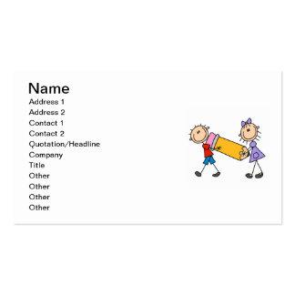 Niños del palillo con el lápiz tarjetas de visita