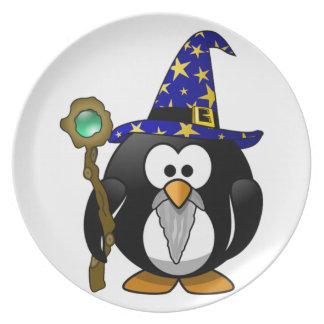 Niños del pingüino del mago plato de cena