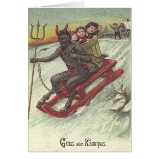 Niños del secuestro de Krampus en trineo Tarjeta De Felicitación