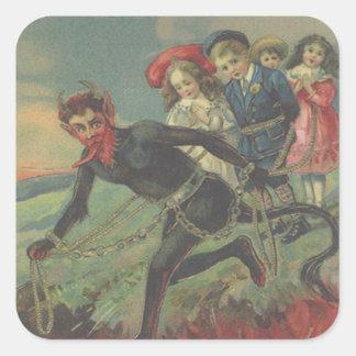 Niños del secuestro de Krampus Pegatina Cuadrada
