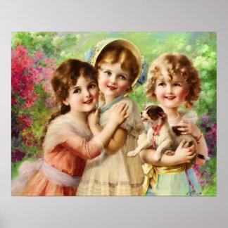 Niños del Victorian con el perrito, Emilio Vernon Póster