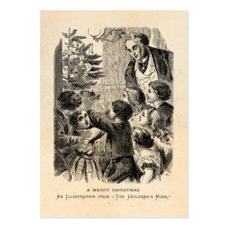 Niños del Victorian de la escena del navidad del v Tarjetas Personales