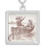Niños del Victorian en bote de remos Collar Plateado