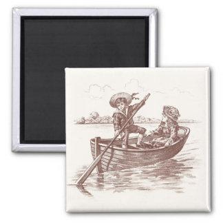 Niños del Victorian en bote de remos Imán Cuadrado