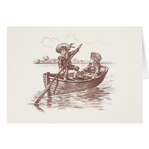 Niños del Victorian en bote de remos Tarjeta De Felicitación