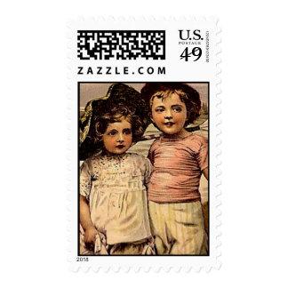 Niños del Victorian en el ejemplo del vintage de Sello