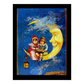 Niños del Victorian en el poster del vintage de la
