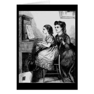 Niños del Victorian - lección de piano Tarjeton