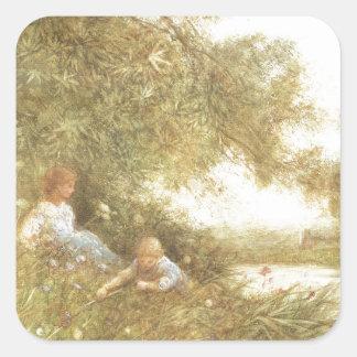 Niños del Victorian que juegan afuera Pegatina Cuadrada