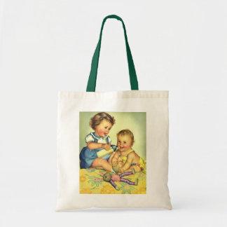 Niños del vintage, botella feliz linda de la bolsa tela barata