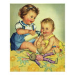Niños del vintage, botella feliz linda de la póster