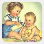 Niños del vintage, botella feliz linda de la pegatina cuadradas personalizada