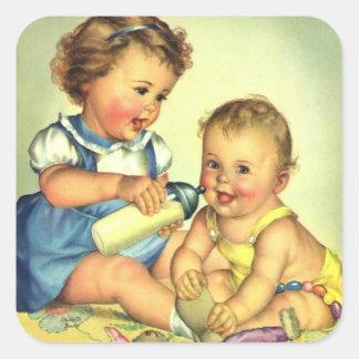 Niños del vintage, botella feliz linda de la pegatina cuadrada