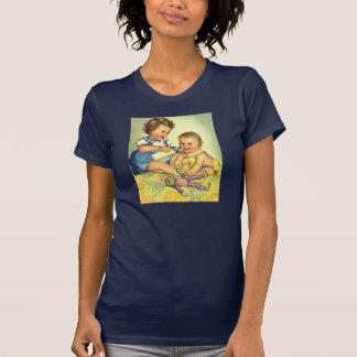 Niños del vintage, botella feliz linda de la camisetas