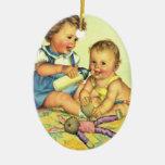 Niños del vintage, botella feliz linda de la sonri ornamento para arbol de navidad