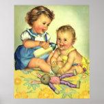 Niños del vintage, botella feliz linda de la sonri impresiones
