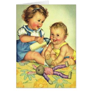Niños del vintage, botella feliz linda de la tarjeta de felicitación