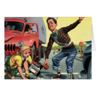 Niños del vintage, chica de ayuda de la patrulla tarjeta de felicitación