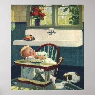 Niños del vintage, cocina del Highchair el dormir  Posters