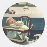 Niños del vintage, cocina del Highchair el dormir Etiqueta Redonda
