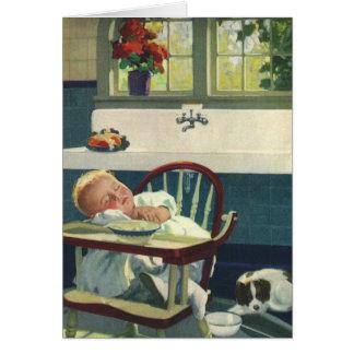 Niños del vintage, cocina del Highchair el dormir Tarjeta De Felicitación