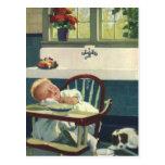 Niños del vintage, cocina del Highchair el dormir  Postales