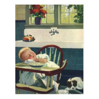 Niños del vintage cocina del Highchair el dormir Postales