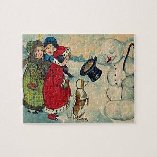 niños del vintage con el muñeco de nieve rompecabezas con fotos