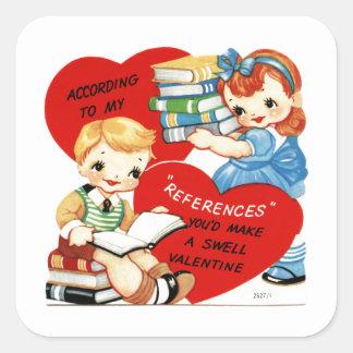 Niños del vintage con el pegatina cuadrado de los