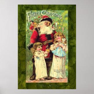 Niños del vintage con el poster del navidad de Pap