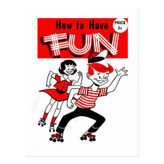 """Niños del vintage del kitsch """"cómo divertirse """" tarjeta postal"""