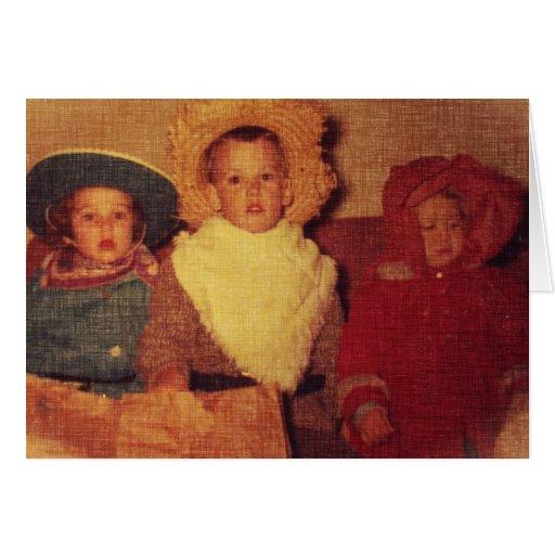 Niños del vintage en el traje, Halloween Tarjeta De Felicitación