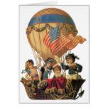 Niños del vintage en globo del aire caliente; tarjetón