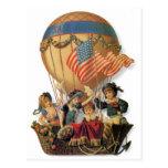 Niños del vintage en globo del aire caliente; postal