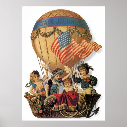 Niños del vintage en globo del aire caliente; Viaj Poster