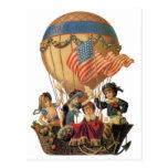 Niños del vintage en globo del aire caliente; Viaj Postales