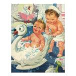 Niños del vintage en la tina del cisne, fiesta de  comunicado personal