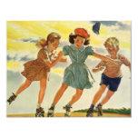 Niños del vintage, fiesta de cumpleaños patinadora anuncios
