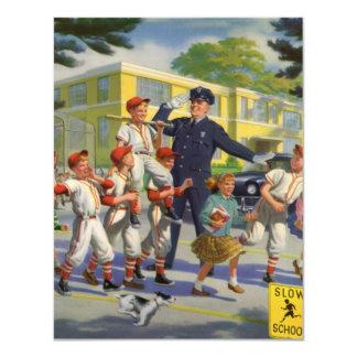 Niños del vintage, guardia de travesía de los invitación 10,8 x 13,9 cm