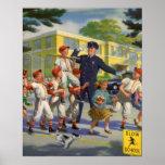 Niños del vintage, guardia de travesía de los juga poster