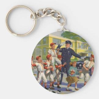 Niños del vintage, guardia de travesía de los llavero redondo tipo chapa