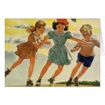 Niños del vintage, patinaje sobre ruedas de la div tarjetas