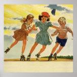 Niños del vintage, patinaje sobre ruedas de la póster