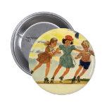 Niños del vintage, patinaje sobre ruedas de la chapa redonda 5 cm